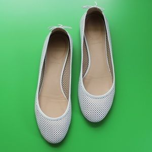 J Crew Perforated ballet flats 11 M Leather White